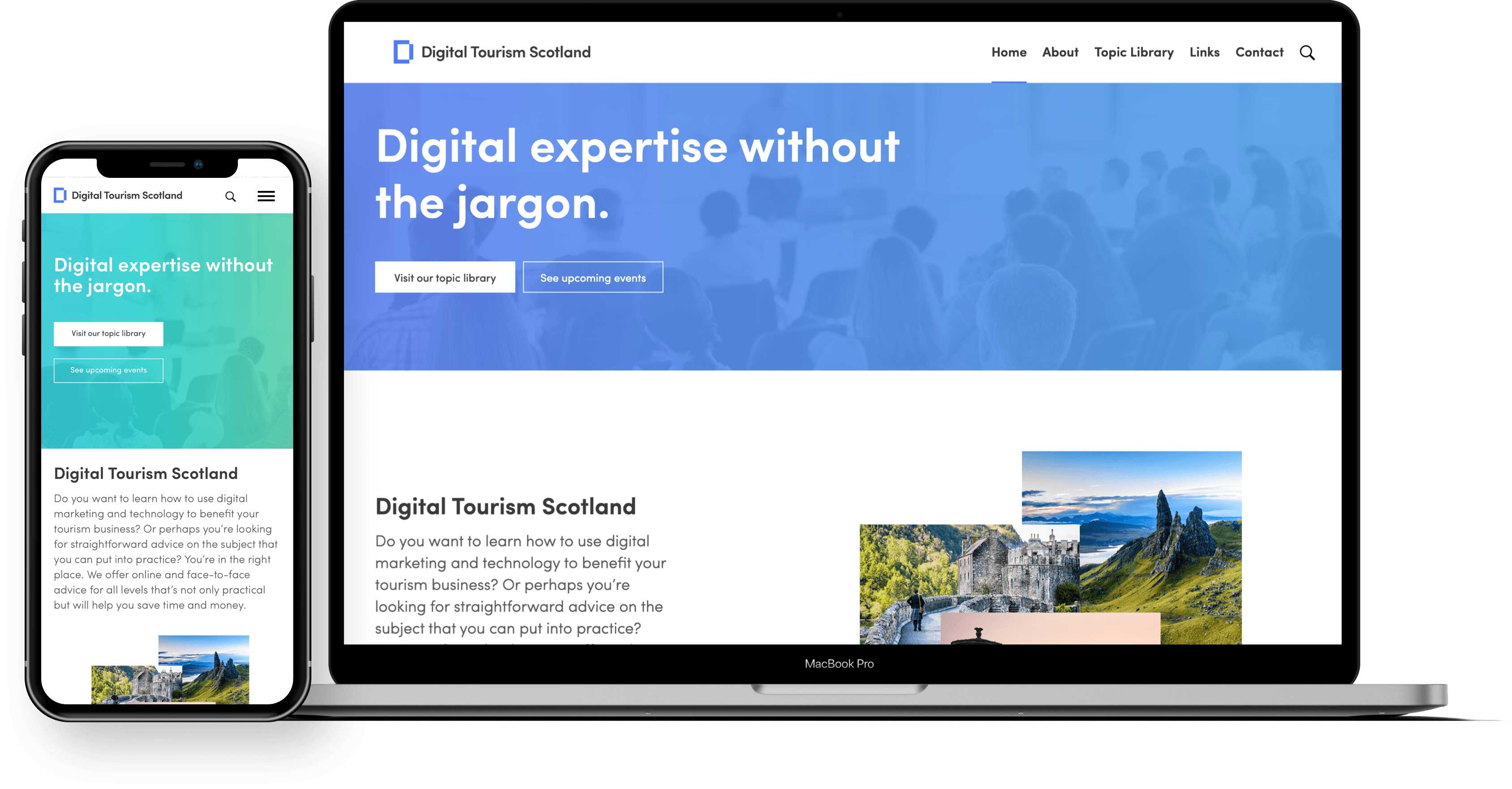Image of a macbook and a iphone 11 with Digital Tourism Scotland website on them