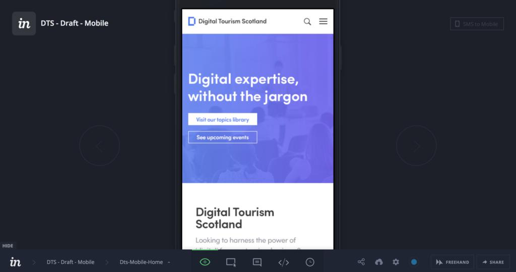 Digital Tourism Scotland Invision prototype