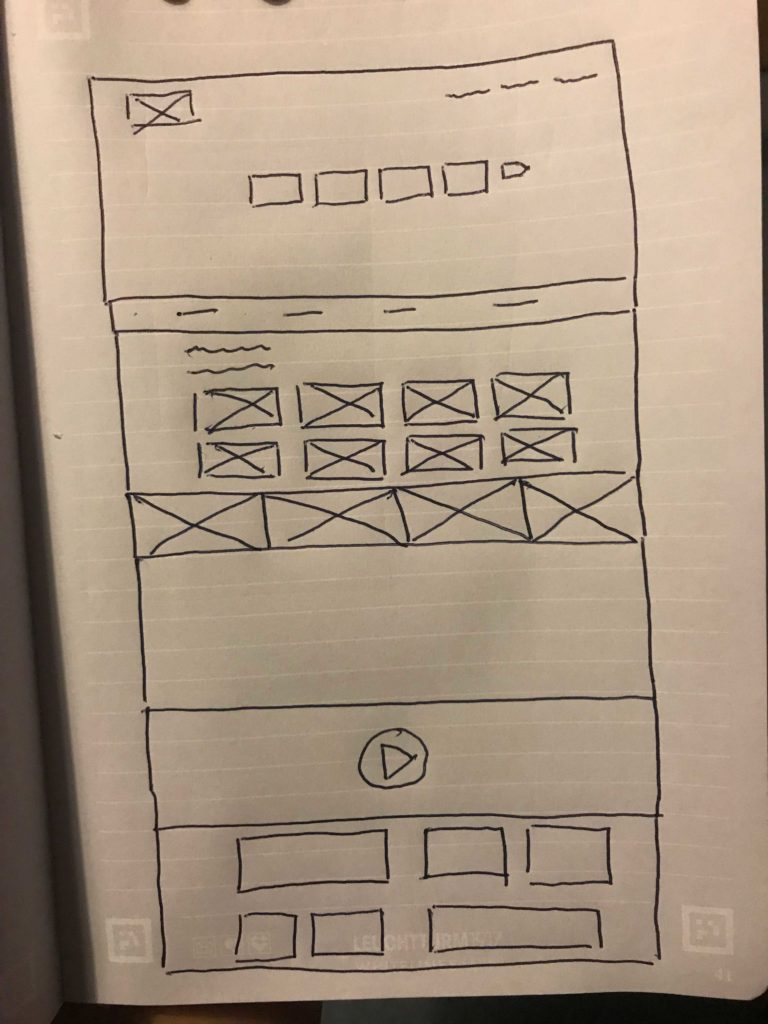 experee wireframe with pen and paper