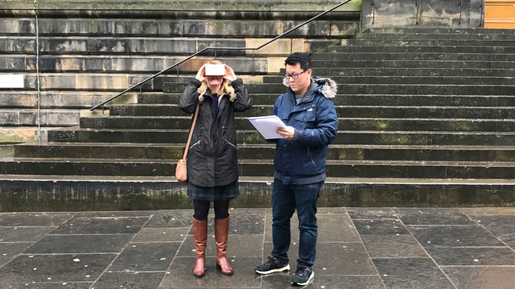 Testing ScotlandVR outside The National Museum of Scotland with a user