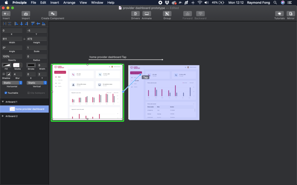 Picture of new Provider dashboard in Principle app